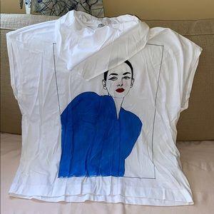 Zara high neck tee white blue
